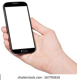 Smart-phone in hand isolated on white background