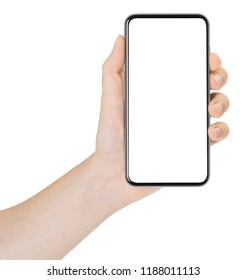 Smartphone in hand on white background, isolated