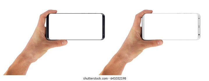 Smartphone horizontal in hand, bezel less modern design. Black and white version