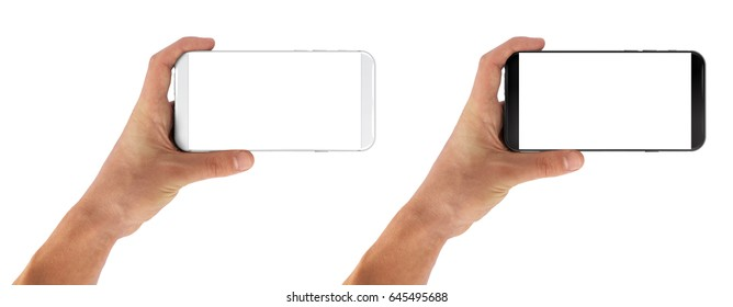 Smartphone horizontal in man hand, bezel less modern design. Black and white version