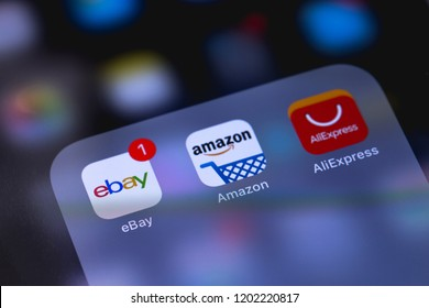 Smartphone with icons of social media. Ebay, Amazone and AliExpress application on screen. Applications for online shopping. Moscow, Russia - October 14, 2018