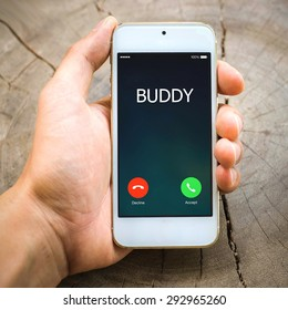 smartphone Incoming calls on hand :buddy ,lifestyle