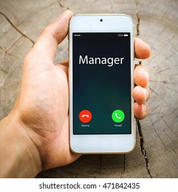 smartphone Incoming calls on hand :Manager ,lifestyle