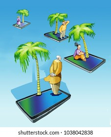 smartphone islands with above a person and a palm drifting apart idea of loneliness