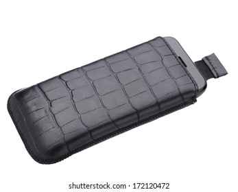 Smartphone in the leather case isolated on the white background