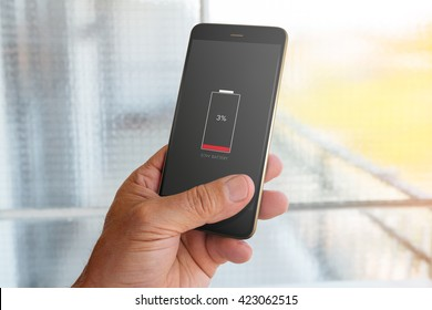Smartphone with low battery on screen
