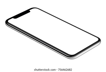 Smartphone lying on surface. Isometric smartphone mockup. New modern black frameless smartphone mockup with white screen lying on surface. Isolated on white background.