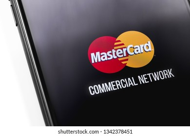 smartphone with MaterCard logo on the screen. Mastercard one of the two biggest credit card companies in the world. Moscow, Russia - March 12, 2019