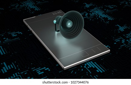 smartphone with megaphone on dark background. 3d rendering
