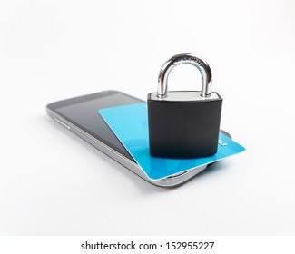 Smartphone / Mobile Security Concept. Locker over smartphone.