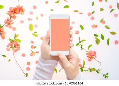 Smartphone mock up in female hand with springtime decoration. Woman holding mobile phone with blank screen, flat lay top view arrangement with spring flower petals and leaves.