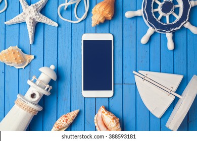 Smartphone mock up template for summer holiday app presentation. View from above. Flat lay