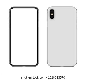 Smartphone mockup both sides. New modern white frameless smartphone template with blank white screen and back side with camera. Isolated on white background. 3D illustration.