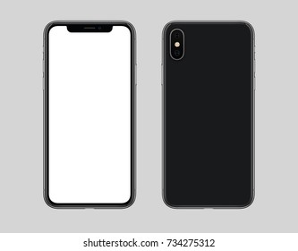 Smartphone mockup front and back side. New modern black frameless smartphone mockup with blank white screen and back side with camera. Isolated on gray background.