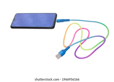 Smartphone and multi-colored USB cable on a white background