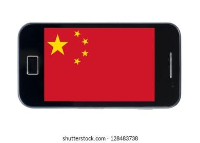 smartphone national flag of china on white