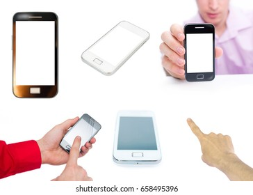 smartphone new technology and man isolated on white background