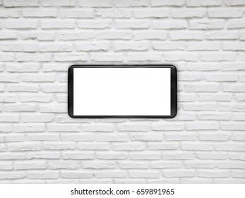 smartphone on brick background