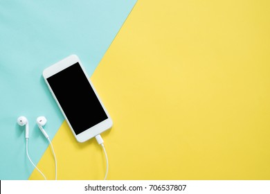 Smartphone on colorful background with copy space.modern and minimal style