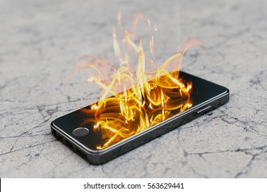 Smartphone on fire. Burning smartphone with bad battery exploded or overloaded processor - 3D illustration.