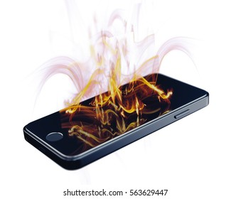 Smartphone on fire. Burning smartphone with bad battery exploded or overloaded processor - 3D illustration isolated on white background.