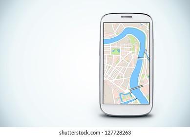 smartphone on a light background.  Gps navigation