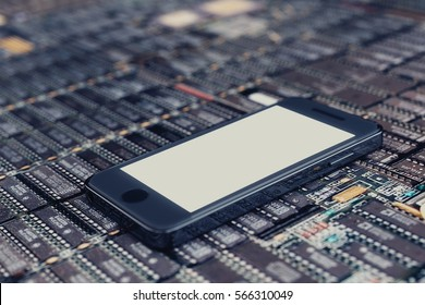 Smartphone on PCB with memory blocks. Empty white screen. 3D illustration.