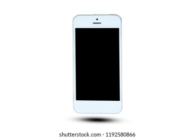 Smartphone on white background black color blank close-up communication connection Copy Space cut out device screen electrical equipment global communications