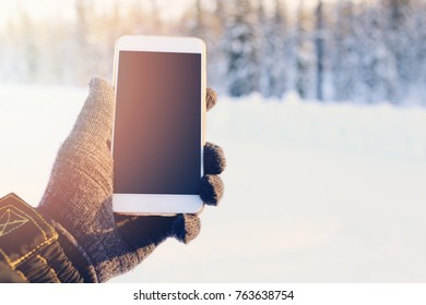 smartphone on the winter forest background