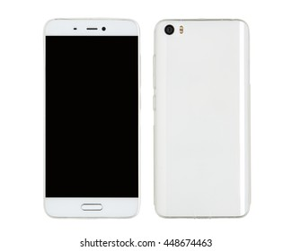 Smartphone with a protective silicone cover, front and back view