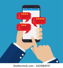 smartphone reviews stars with good and bad rate and text, concept of testimonials messages, notifications, feedback. illustration in flat style Raster version