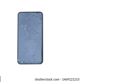 Smartphone screen cracked the broken screen on the white background