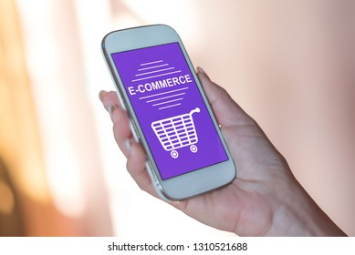 Smartphone screen displaying an e-commerce concept