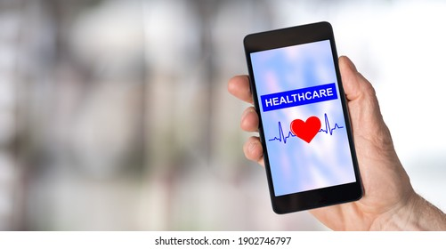 Smartphone screen displaying a healthcare concept