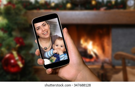 Smartphone screen showing mother and child