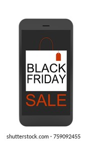 Smartphone and shopping bag design for advertisement of Black Friday sales.