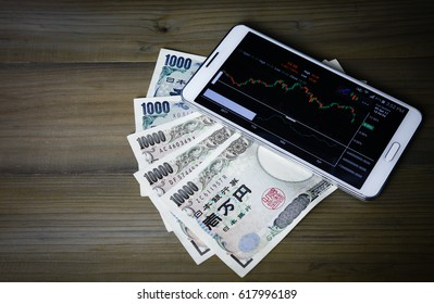 Smartphone showing stock market candlestick trend with Japanese Yen ,Business and finance concept