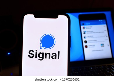 Smartphone with the Signal logo is a free and open source instant messaging and calling application. United States, California July 9, 2021