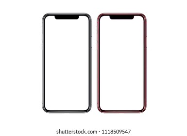 Smartphone similar to iphone xs max with blank white screen for Infographic Global Business Marketing Plan , mockup model similar to iPhonex isolated Background of ai digital investment economy