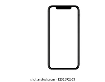Smartphone similar to iphone xs max with blank white screen for Infographic Global Business Marketing Plan , mockup model similar to iPhonex isolated Background of ai digital investment economy. HD