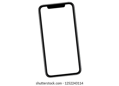 Smartphone similar to iphone xs max with blank white screen for Infographic Global Business Marketing Plan , mockup model similar to iPhonex isolated Background of ai digital investment economy.