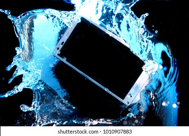 Smartphone sinking in the water