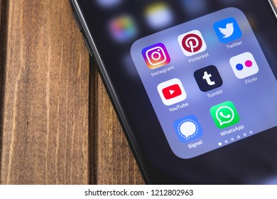 smartphone with social media apps (YouTube, Instagram, Flickr, Tumblr, Pinterest, Twitter, Signal, WhatsApp). Moscow, Russia - October 26, 2018