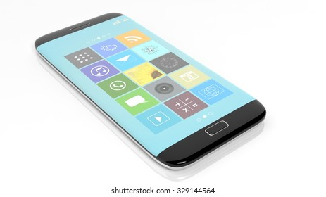 Smartphone with square apps, isolated on white background.