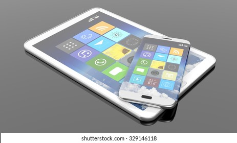 Smartphone and tablet with square apps, isolated on black background.