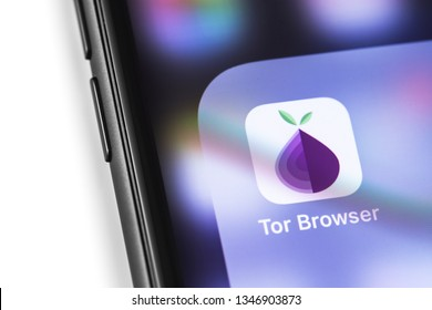 smartphone with TOR Browser icon app on the screen. The Tor project provides free software for anonymous communication on the internet. Moscow, Russia - March 17, 2019