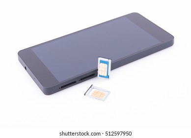 Smartphone with two sim cards on white background