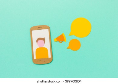 Smartphone user with megaphone and speech bubbles
