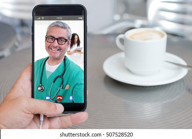 smartphone video call to talk with your doctor drinking coffee
