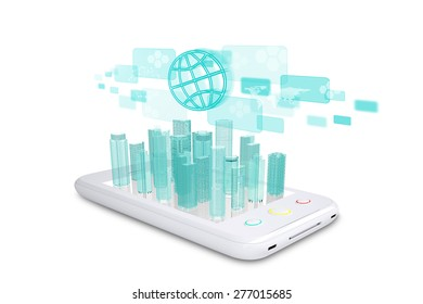 Smartphone with virtual world map, holographic screen and cityscape on isolated white background